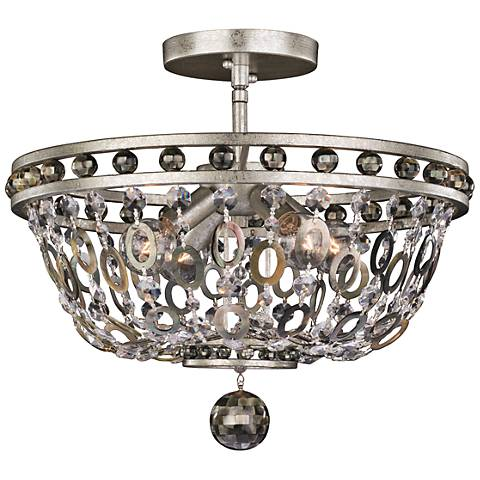 "Allegri Lucia 17""W Vintage Silver Leaf 4-Light Ceiling Light"