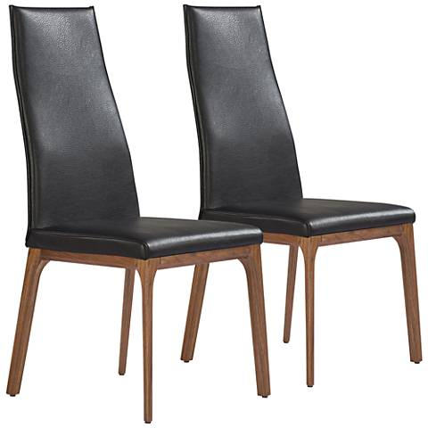 Ricky Black Faux Leather and Wood Dining Chair Set of 2