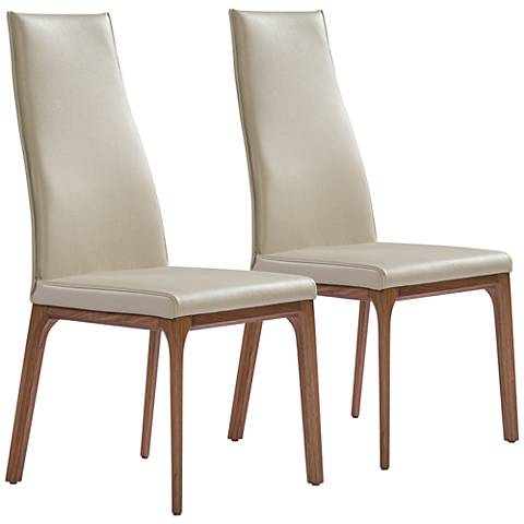 Ricky Taupe Faux Leather and Wood Dining Chair Set of 2