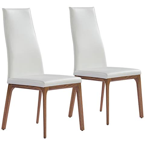 Ricky White Faux Leather and Wood Dining Chair Set of 2