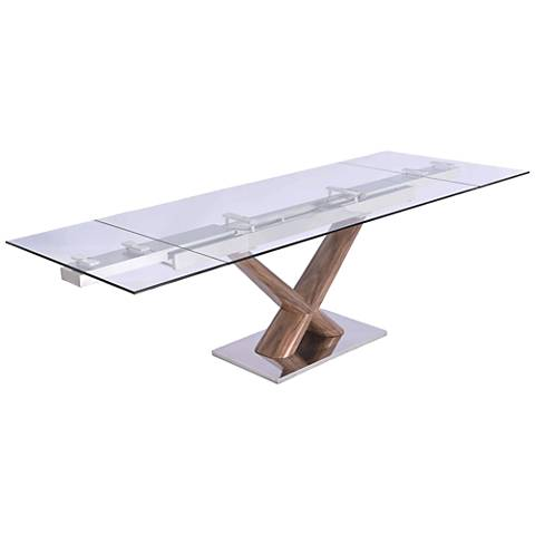 Celeste Clear Glass Top Walnut Wood Extendable Dining Table