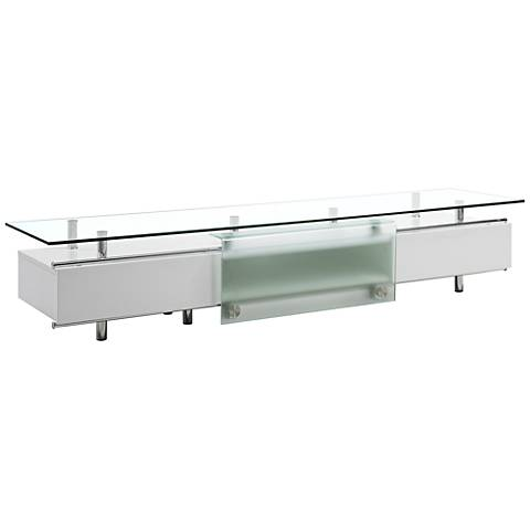 Ema Clear Glass Top High Gloss White Wood 1-Door TV Unit
