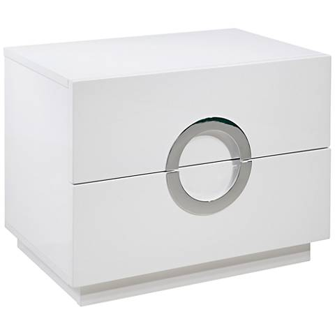 Eddy High Gloss White Wood 2-Drawer Large Nightstand