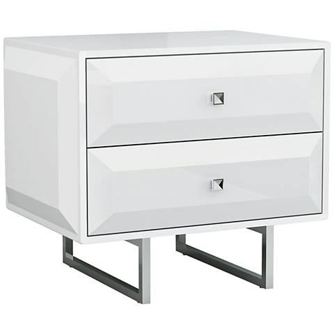 Abrazo High Gloss White Wood 2-Drawer Nightstand
