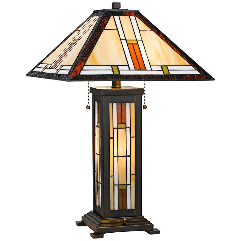 Kelton Tiffany Stained Glass Table Lamp with Night Light