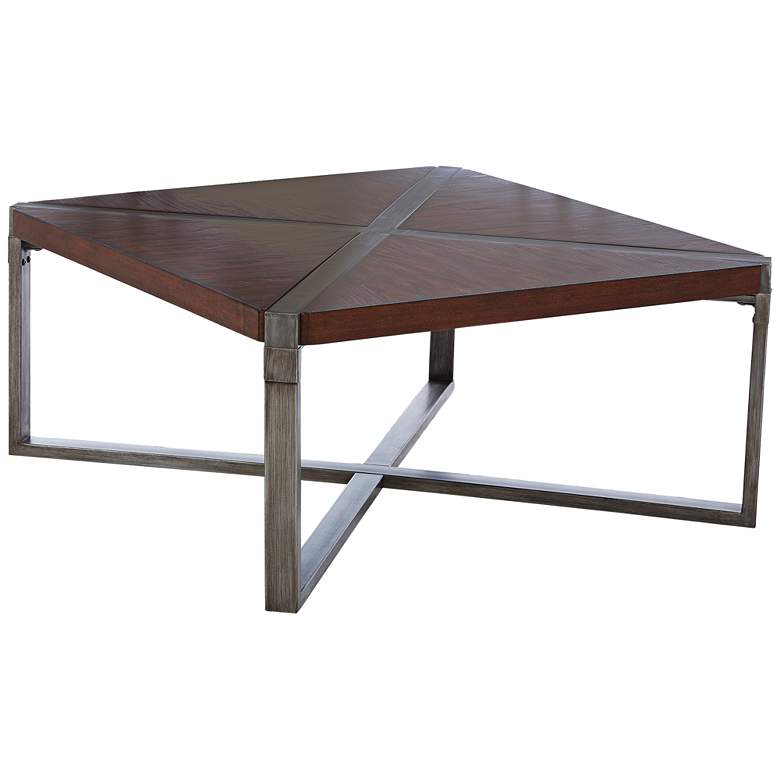 "Woodbrook 38"" Square Burnt Brown Wood Cocktail Table"