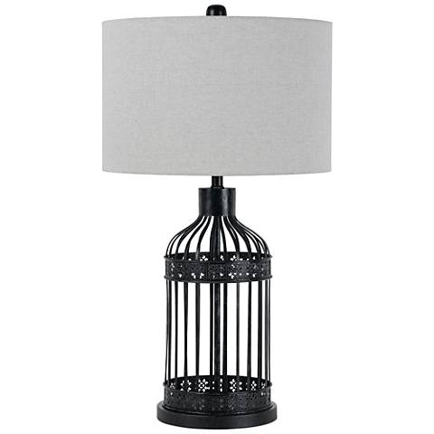 Birdcage Black Metal Table Lamp