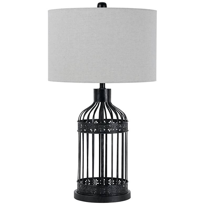 Birdcage Black Metal Table Lamp