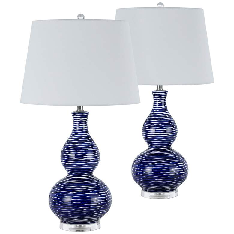 Payson Ocean Blue Ceramic Table Lamp Set of 2