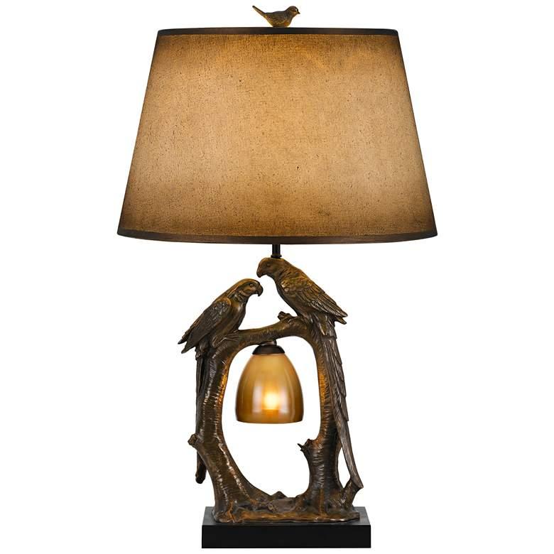 Bird Bronze and Paper Shade Night Light Table Lamp