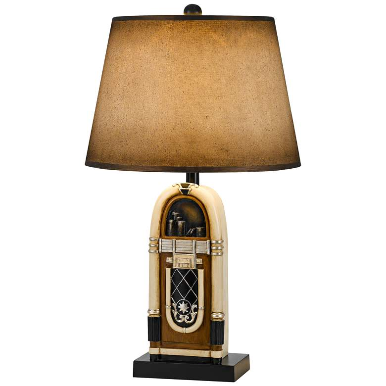 Jukebox Antique Bronze and Ivory Table Lamp w/ Paper Shade