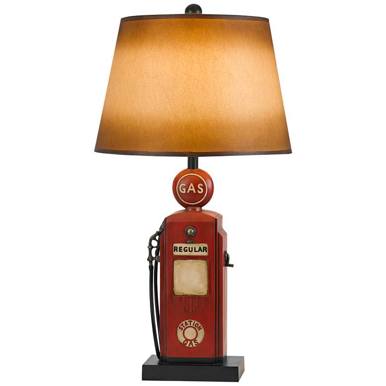 Nostalgic Gas Pump Rusty Brick Table Lamp with Paper Shade