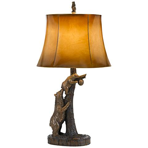 Bear Antique Bronze Table Lamp With Leatherette Shade 23f22 Lamps Plus