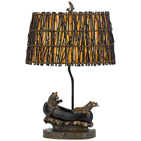 Bear In Canoe Antique Bronze Table Lamp