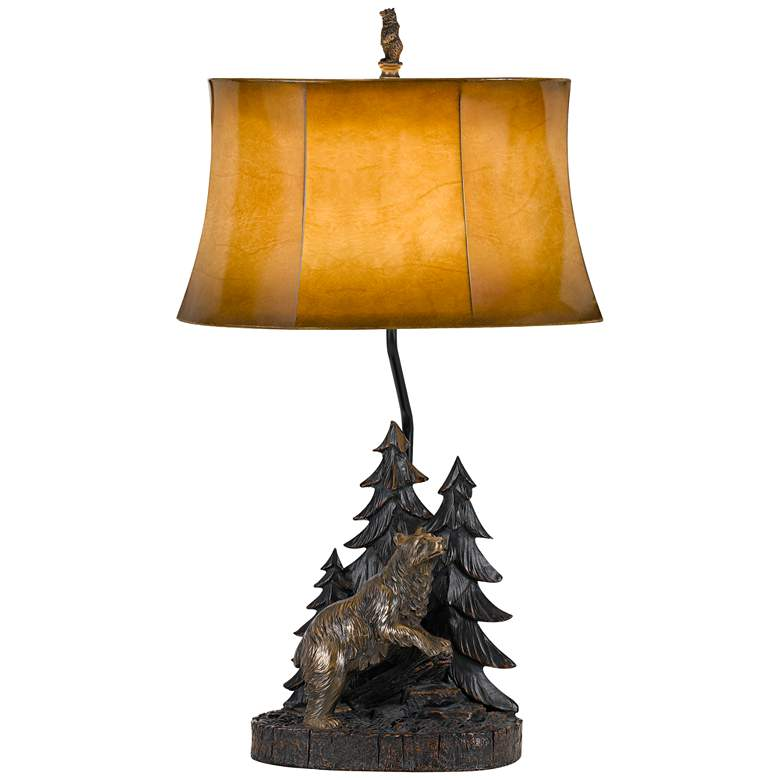 Forest Antique Bronze Table Lamp with Leatherette Shade