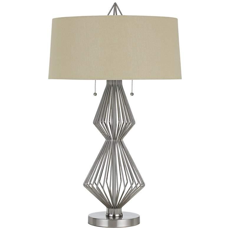 Terni Brushed Steel Metal Table Lamp with Burlap