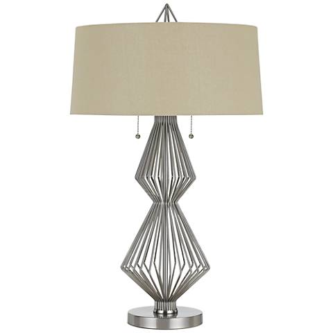 Terni Brushed Steel Metal Table Lamp with Burlap Shade