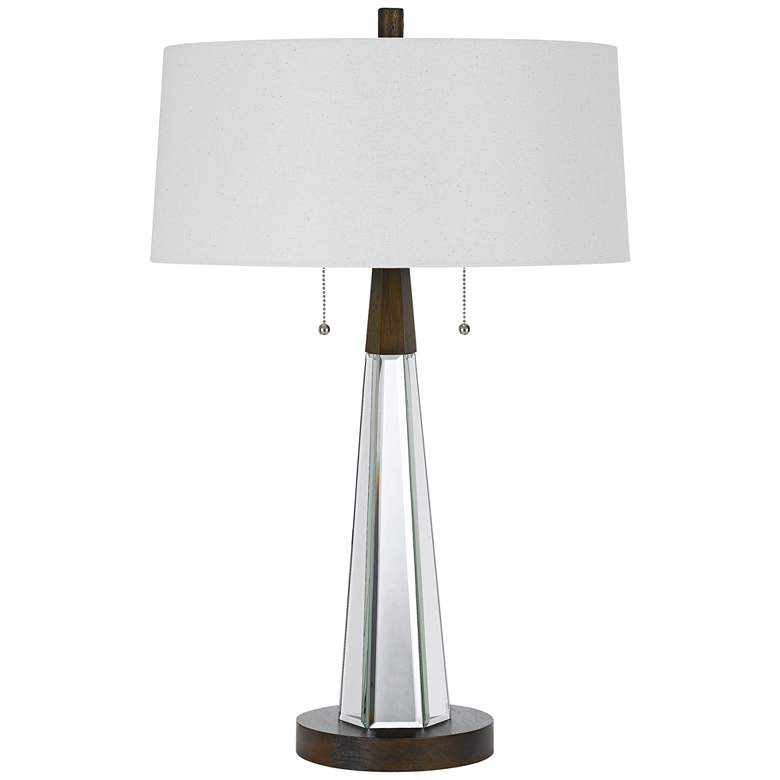 Caserta Mirror and Black Table Lamp with Linen
