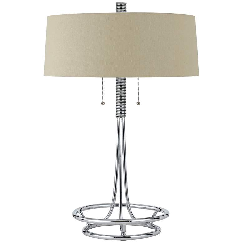Lecce Chrome Metal Table Lamp with Burlap Shade