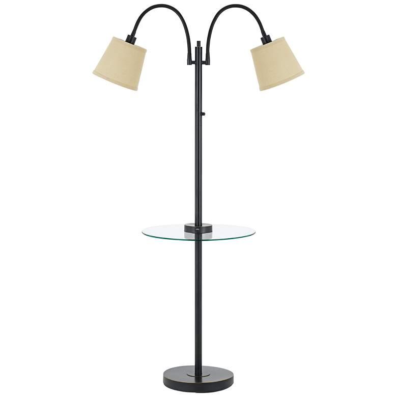 Gail Dark Bronze Double Gooseneck Floor Lamp with Tray Table