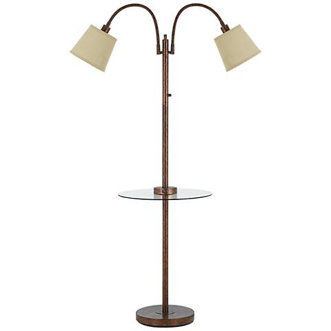 Gail Rust Double Gooseneck Floor Lamp with Tray Table
