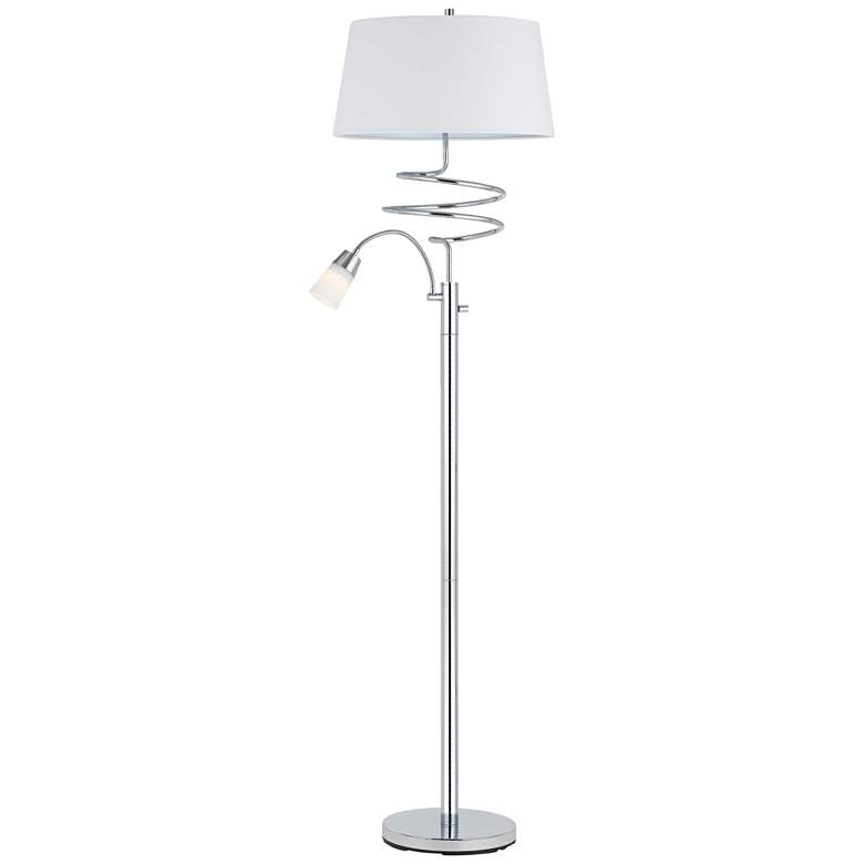 Mora Chrome Metal Floor Lamp with LED Reading Lamp