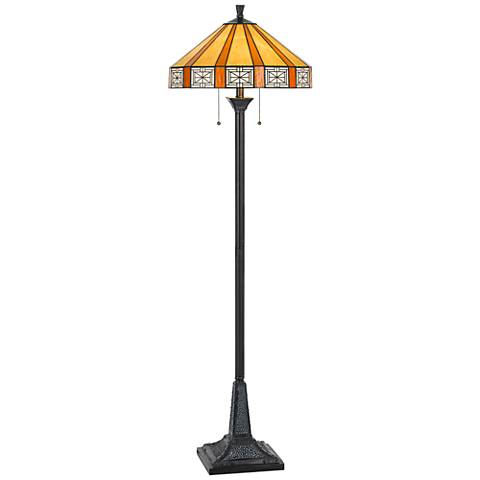 Devon Tiffany Stained Glass Floor Lamp with Square Base
