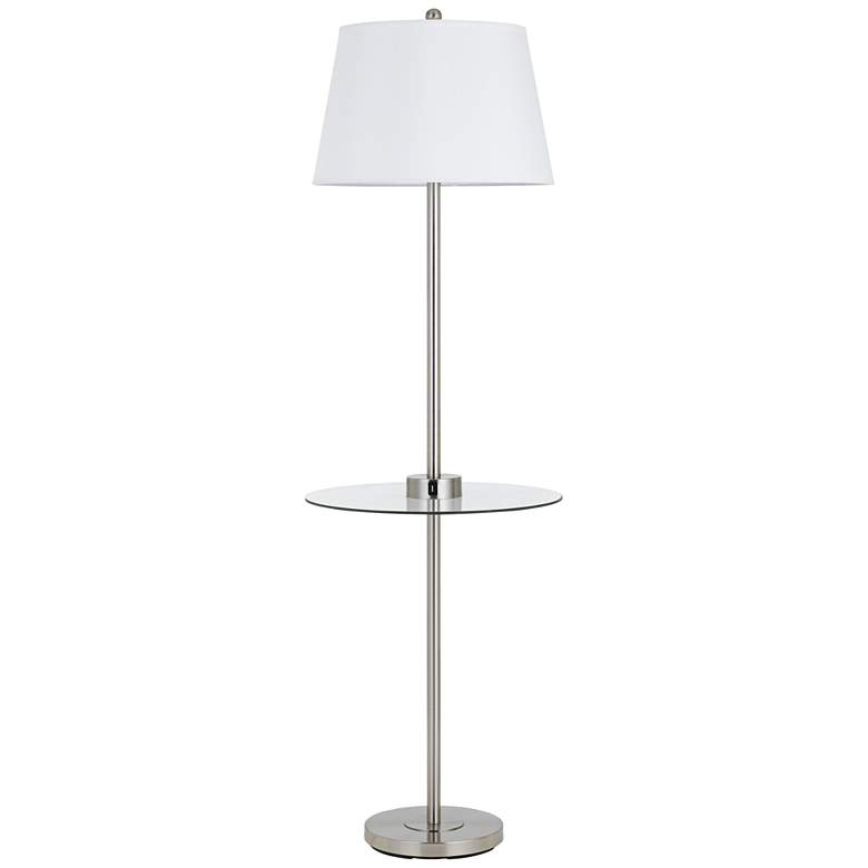 Woodbury Brushed Steel Floor Lamp with Tray Table