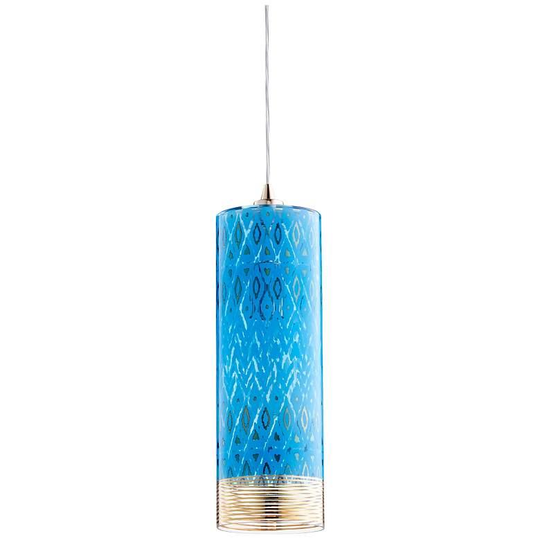 "Cyan Design Kaska 4 3/4""W Gold and Blue Glass Mini Pendant"