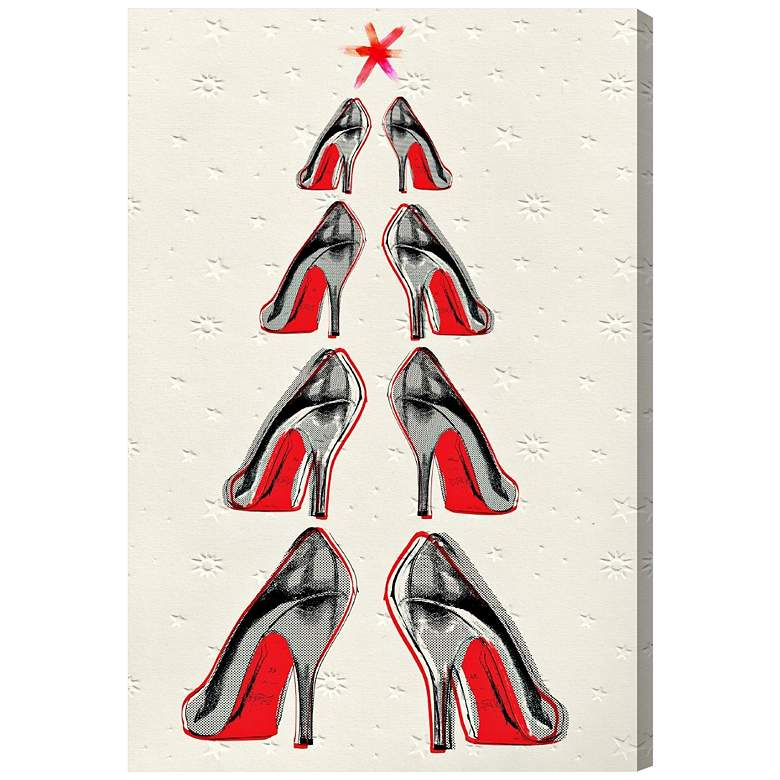 """Oliver Gal Christmas Tree 2013 15"""" High Canvas Wall Art"""