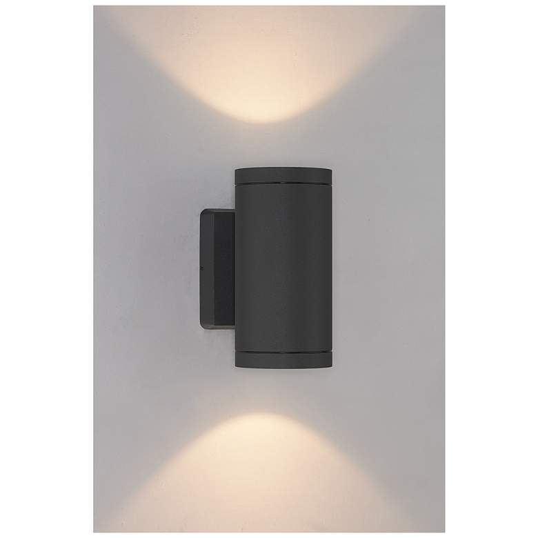 """Bruck Cylinder 8"""" High Anthracite LED Outdoor Wall Light"""