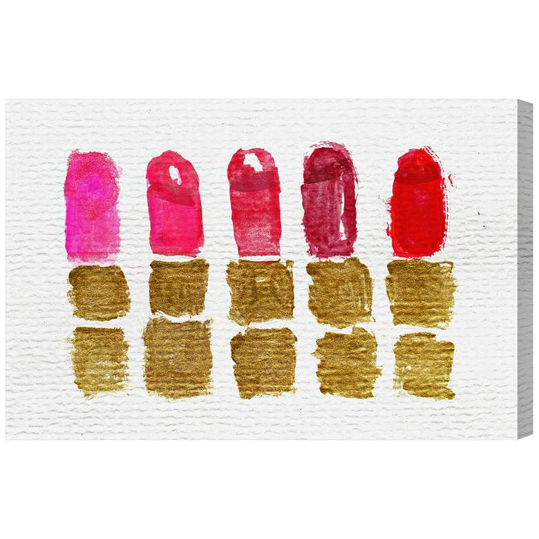 """Oliver Gal Lipstick Shades 15"""" Wide Canvas Wall Art"""