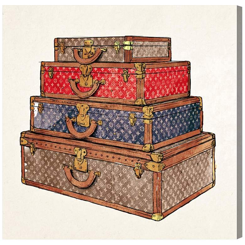 """Oliver Gal The Royal Luggage 12"""" Square Canvas Wall Art"""
