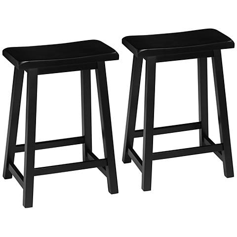"Arroyo 24"" Antique Black Wood Saddle Counter Stools Set of 2"