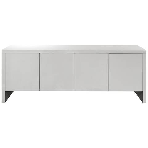 Gio High Gloss White 4-Door Buffet Cabinet w/ Adjustable Shelves