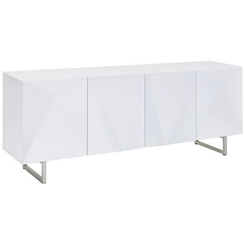 Paul White Glass Top High Gloss White Wood 4-Door Buffet Cabinet