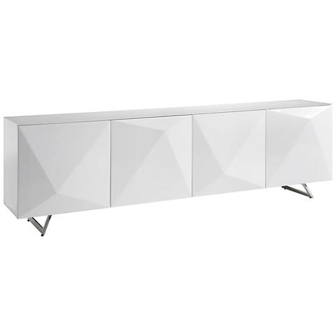 Samantha White Glass Top Gloss White Wood 4-Door Buffet Cabinet