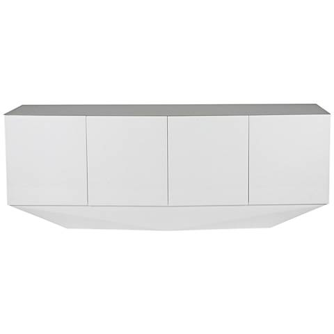 Marcella Gloss White 4-Door Buffet Cabinet w/ Adjustable Shelves