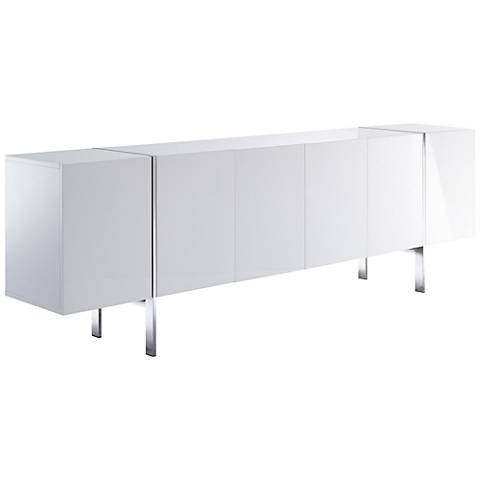 Struttura High Gloss White Buffet Cabinet with Adjustable Shelves