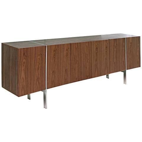 Struttura Large Walnut Wood 6-Door Wood Buffet Cabinet