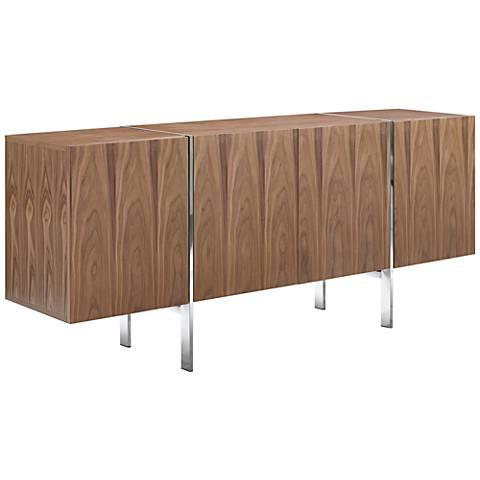Struttura Walnut Veneer Buffet Cabinet with Adjustable Shelves