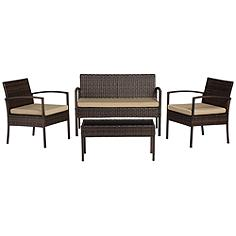 Cayman Isle Wicker Tan Cushion 4-Piece Outdoor Patio Set