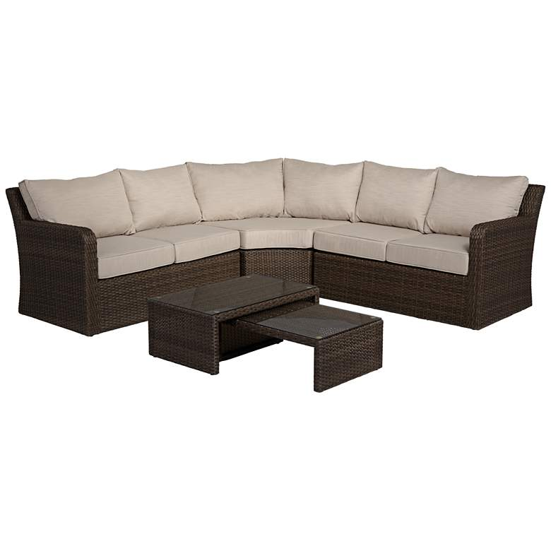 Point View Brown Wicker 5-Piece Outdoor Sectional Set