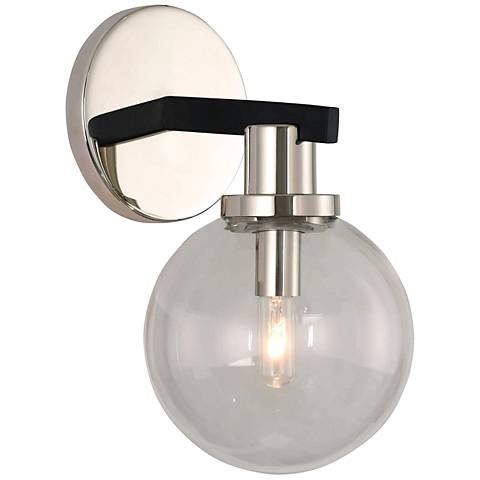 """Cameo 10"""" High Matte Black and Nickel Wall Sconce"""