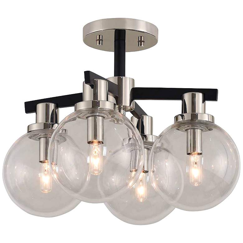 """Cameo 16"""" Wide Matte Black and Nickel 4-Light Ceiling Light"""