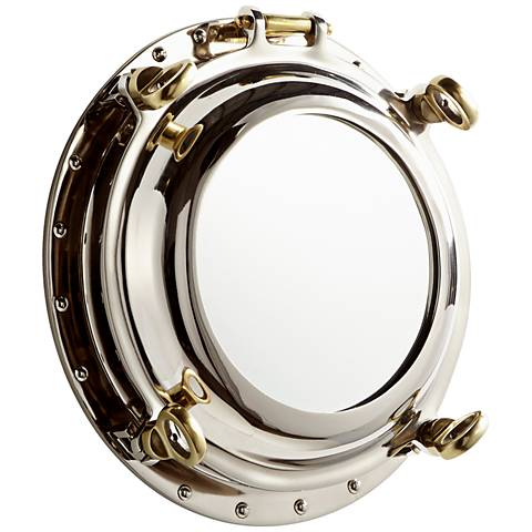 "Cyan Design Seeworthy Nickel 15"" Round Wall Mirror"