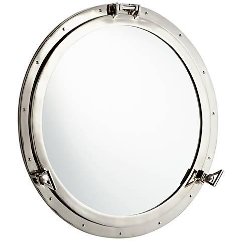 """Cyan Design Seeworthy Nickel 28"""" Round Wall Mirror"""