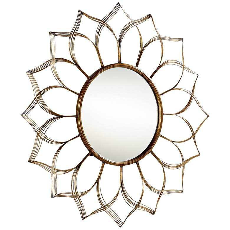 """Blooming Beauty Aged Gold 16 3/4"""" Round Wall Mirror"""