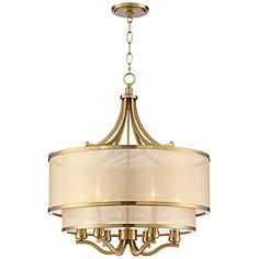 "Possini Euro Nor 23"" Wide Warm Antique Brass 6-Light Pendant"