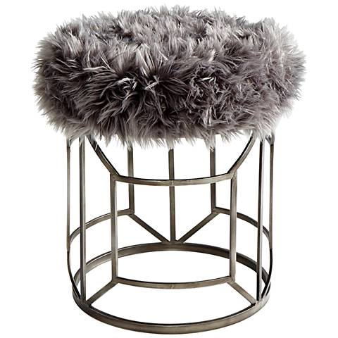 "Cyan Design Ushanka 21 3/4"" Graphite and Gray Accent Stool"